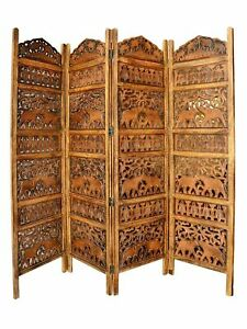 Indian Antique Furniture Handcraft Wooden Partition Screen Room Divider 4 Panels