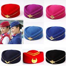 Vintage Wool Stewardess Flight Attendant Pillbox Hat Fascinators stage Cap Badge