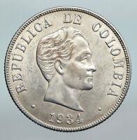 1934 COLUMBIA Simon Bolivar Eagle Shield ANTIQUE Silver 50 Centavos Coin i90282