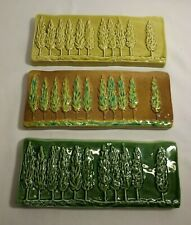 Set of 3 *GLOBAL VIEWS* Ceramic Glazed Wall Sculptures ITALY - Tree Pattern