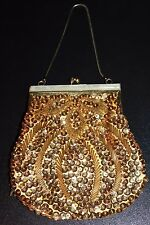 Vintage Gold Sequin Handbag Purse Clutch Mother of Pearl & Gold Clasp Beautiful!