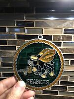 Seabees U.S. Naval Construction Battalion Christmas Stained Glass Tree Ornament