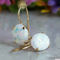 14K Solid Yellow Gold Oval 8X10mm White Opal Drop Earrings Holiday Sale