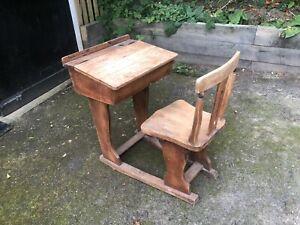 Antique old childrens school desk attached sliding chair playroom storage