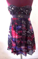 BCBG Max Azria Womens Dress Size 2 Purple Watercolor Silk Strapless Party Prom
