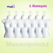 Female Torso Dress Form Mannequins - 6 pack White + 6 Hooks for Hanging