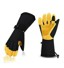 CCBETTER Winter Gloves Ski Windproof Winter Gloves for Cowhide Palm & 3M...