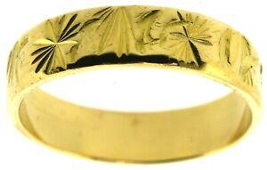 22Carat yellow gold wedding band ring flat profile 4.7mm size N hand engraved