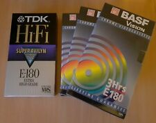 4 Blank VHS Tapes Sealed 1 x TDK PROMO , 3 x BASF Blank Video Recording E180 NEW