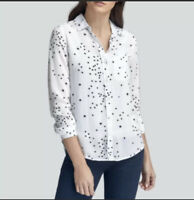 Beach Lunch Lounge Womens White with Black Stars Shirt Size Small A Blouse
