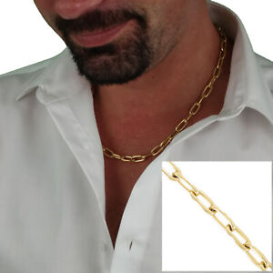 Rochet Mens Large Cable Chain Necklace Cable Gold Tone Links 20""