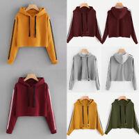 Women's Long Sleeve Hoodie Sweatshirt Jumper Hooded Pullover Crop Tops Blouse