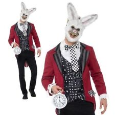 Mens Deluxe Evil White Rabbit Costume Adult Halloween Scary Fancy Dress M-XL