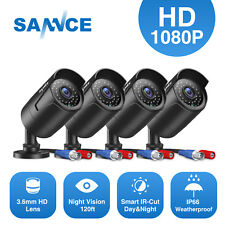 SANNCE 4PCS HD 1080P Metal Indoor Outdoor 100ft IR 2MP CCTV Home Security Camera