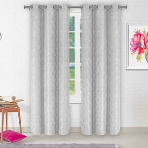 Set of Two (2) Grommet Window Curtain: Diamond design, 84 IN Length, Silver Gray