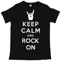 KEEP CALM AND ROCK ON MENS SUMMER MUSIC FESTIVAL PRINTED T-SHIRT