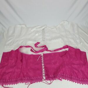 Frederick's of Hollywood Corset Charmeuse Lot of Two 44 White Pink 7005