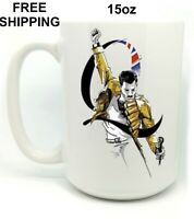 Freddie Mercury, Queen, Birthday, Christmas Gift, White Mug 15 oz, Coffee/Tea