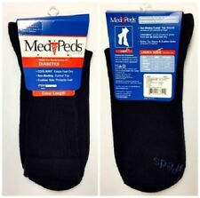 3 PAIR MENS MEDIPEDS CREW LENGTH W/COOLMAX DIABETIC SOCK - NAVY - SIZE LARGE