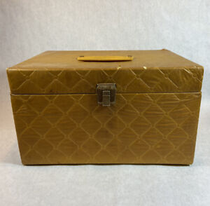 Vintage Quilted Gold Sewing Box 1960s 1970s Mid Cen