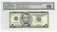 2003 $5 CLEVELAND FRN, PMG GEM UNCIRCULATED 66 EPQ BANKNOTE