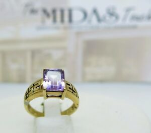 9ct yellow gold amethyst ring with filigree design shoulders size N 375