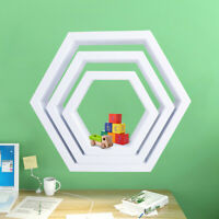 Wood Set of 3 Floating Shelves Hexagon Wall Mount Shelf Display Storage Rack