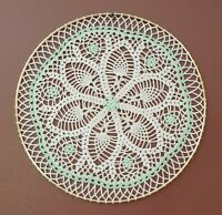 Green Accents Crochet Doily Wall Hanging Dream Catcher in 14 inch Gold Ring, New