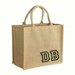 Personalised LARGE Sized Shopping Jute Tote Style bag with Handles