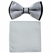 New Men's Two Layer Tones Pre-tied Bow Tie and Hankie Set Silver Black formal