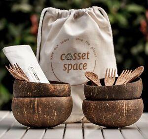 Raw - Jumbo Combo 2/ 4 Coconut Bowl - Cutlery Set