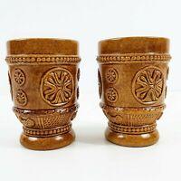 Vintage German Porcelain 2 Drinking Mugs Footed Stamped Brown Glaze Cups