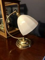 Art Deco 1930s Style Swan Neck Table Lamp - Patina brass & Original Glass Shade