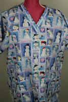 Tafford Snowman Christmas Winter Nurse Scrub Top Size M Nurse CNA Dental
