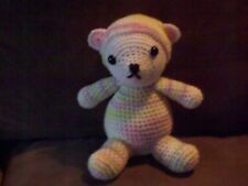 Crochet 7 1/2 in Baby Bear in pastel sleeper + cap animal toy doll handmade