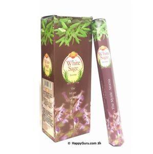 """White Sage"" 120 Incense Sticks Sandesh Brand (SAC) One Carton (6 Hex Boxes)"