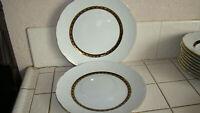 "Baum Brothers Renaissance Black 10 1/4"" Dinner Plates Lot of 2 LN"