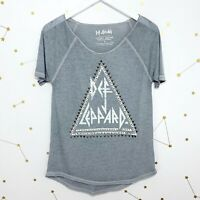 Lucky Brand Graphic Tee Size Small S Gray Burnout Def Leppard Studded Band Rock