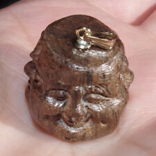 VINTAGE 14K CHINESE CARVED NATURAL WOOD FOUR FACE BUDDHA GOOD LUCK MOOD PENDENT