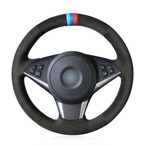 Custom Hand-Stitch Suede Leather Car Steering Wheel Cover For BMW 630i 645Ci 650