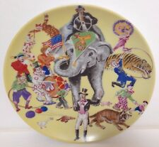 Vintage AK KAISER W. Germany Porcelain Plate Circus Elephant Tiger Clown Yellow