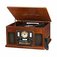 Victrola Nostalgic Aviator Wood 8-in-1 Bluetooth Turntable Entertainment