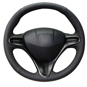 Black Leather Car Steering Wheel Cover for Honda Civic Civic 8 2006-2009