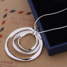 New Women 925 Sterling Silver Plated Classic Large Round Pendant Necklace Chain