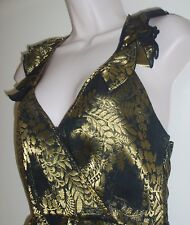 JUICY COUTURE Ladies Cocktail Dress, Black and Gold, Size 2, Sexy--FREE Shipping