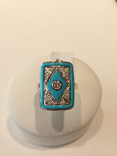 turquoise and diamond white gold ring