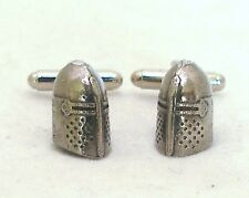Medieval Knight's Helmet Cufflinks in Fine English Pewter, Gift Boxed