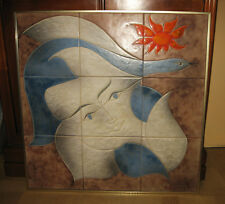 Molto grande pannello ceramiche Vallauris firmato Gilbert Valentin I Arcangeli