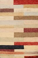 checked Modern Geometric Gabbeh Oriental Area Rug Hand-Knotted Wool 4x6 Carpet