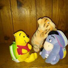 "Lot of 3 Plush 5"" Eeyore 6"" Winnie Pooh & 8"" Tigger Tiger"